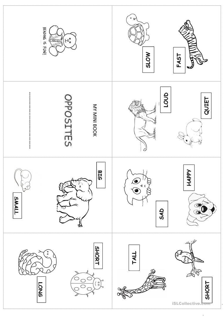 Opposites Worksheet Kindergarten Mini Book Opposites English Esl Worksheets for Distance