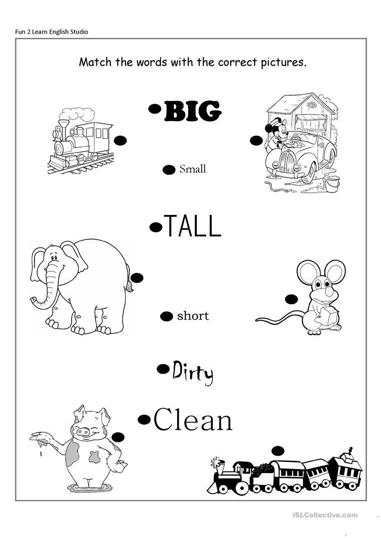 Opposites Worksheet Kindergarten Opposite Adjectives Big Small Short Long Clean Dirty