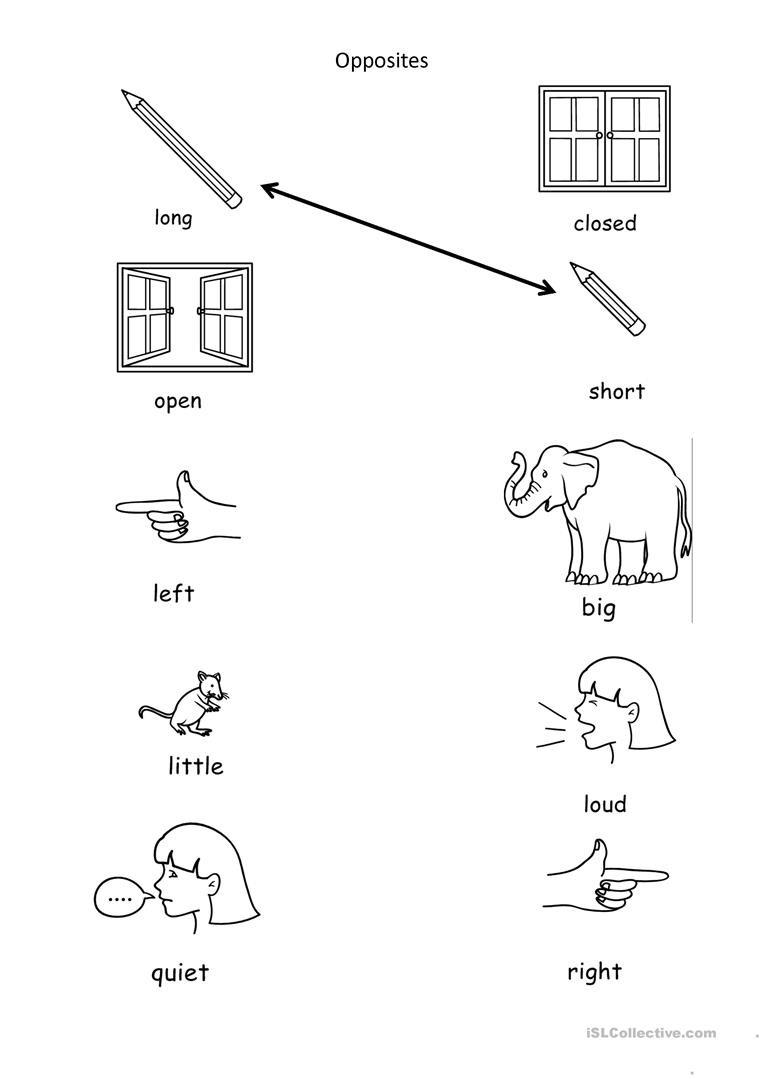 Opposites Worksheet Kindergarten Opposites English Esl Worksheets for Distance Learning and