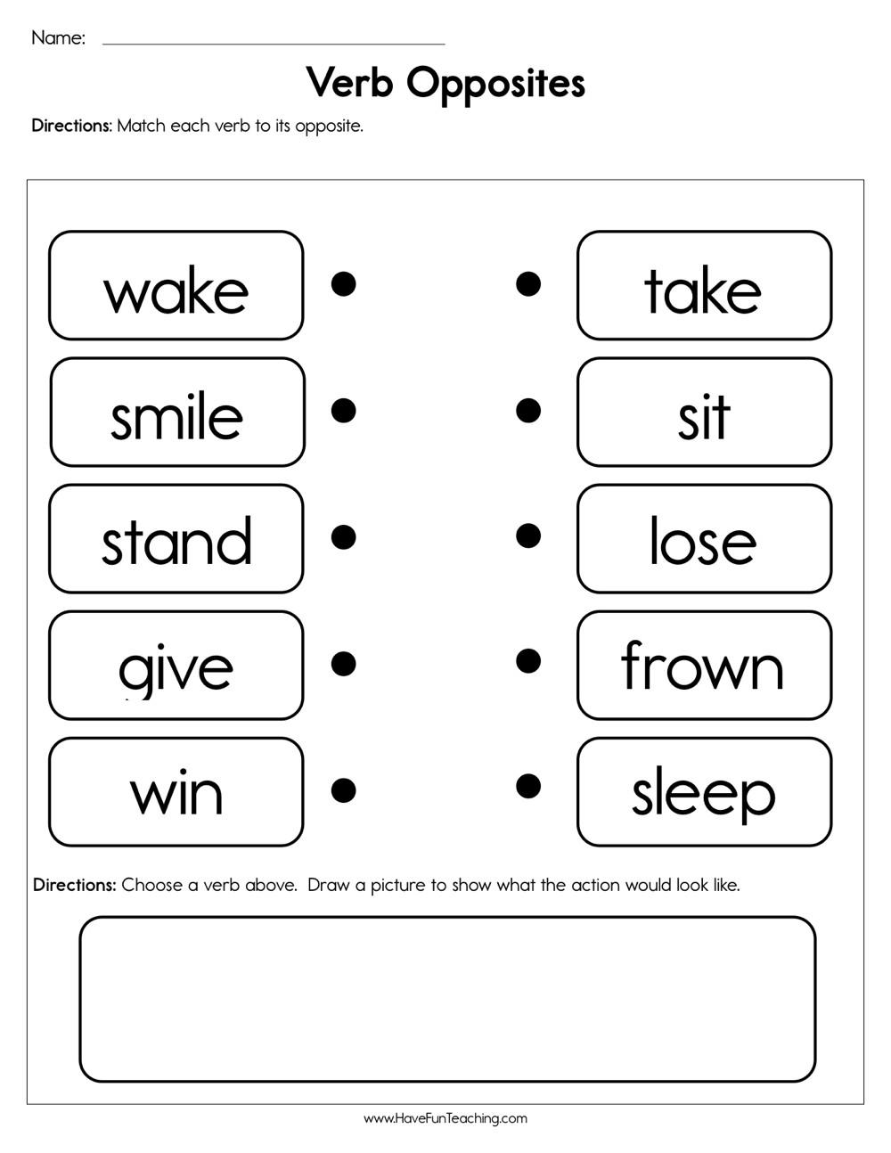 Opposites Worksheet Kindergarten Verb Opposites Worksheet