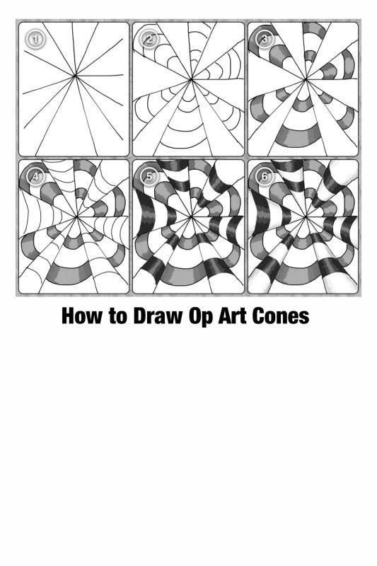 Optical Illusion Worksheets Printable Op Art Cones Step by Step Printable Worksheet by