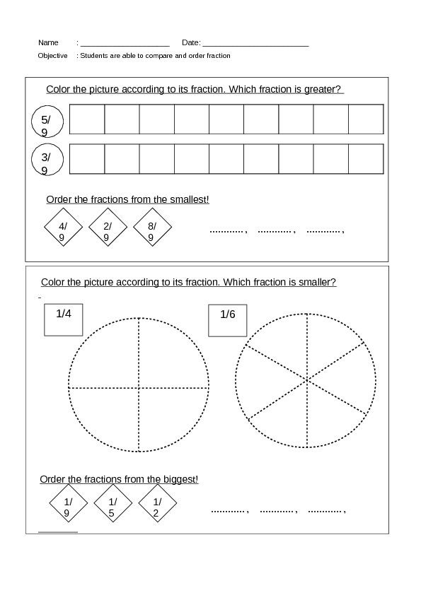 Ordering Fractions Worksheet 4th Grade Pare and order Fractions Worksheet for 3rd 4th Grade