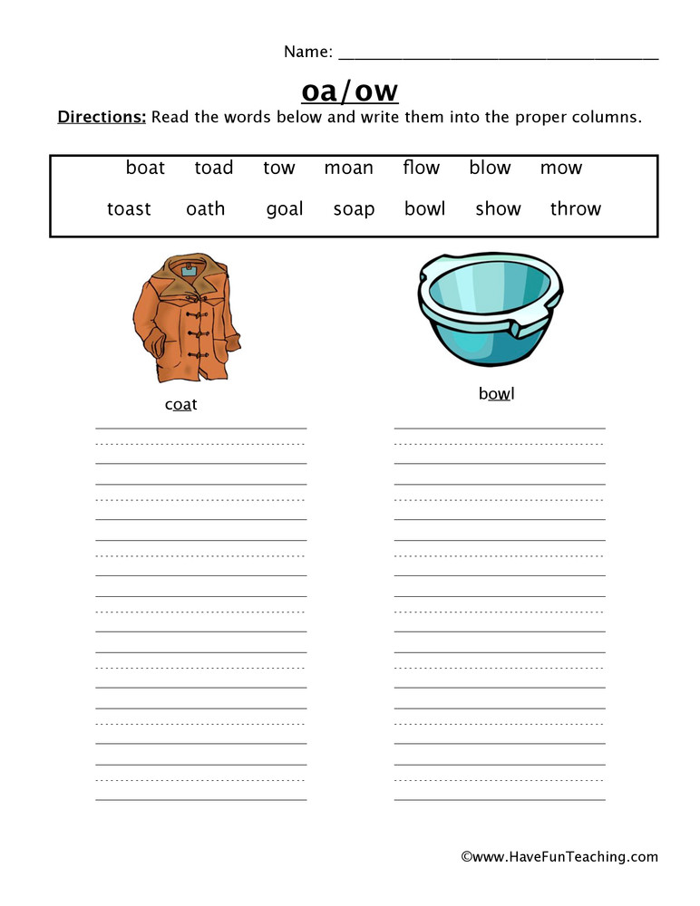 Ou Ow Worksheets 2nd Grade Oa Ow Worksheet