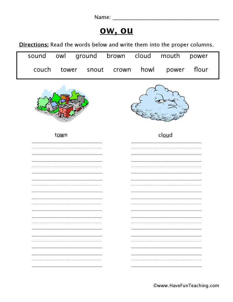 Ou Ow Worksheets 2nd Grade Ow Ou sorting Worksheet
