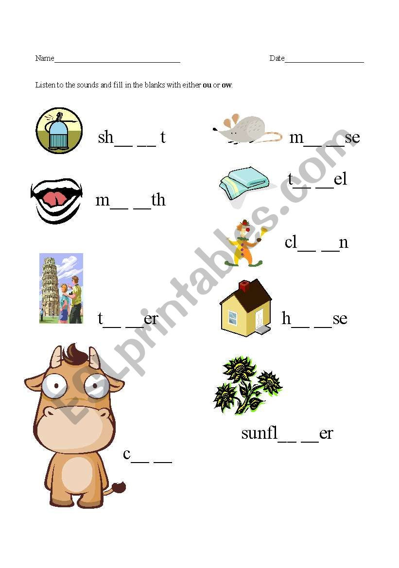 Ou Ow Worksheets 3rd Grade Ou and Ow sounds Esl Worksheet by Silverkitty