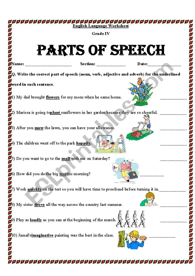 Parts Of Speech Printable Worksheets Identify Parts Of Speech Esl Worksheet by Mariajane