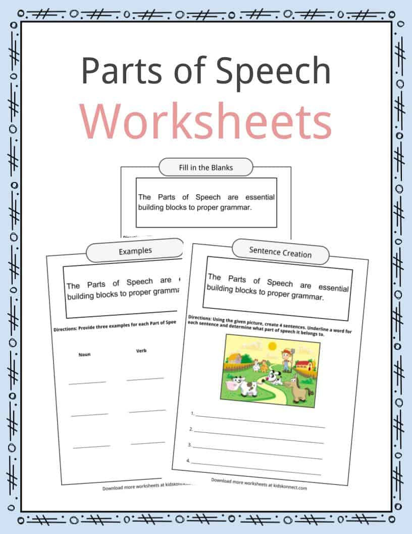 Parts Of Speech Printable Worksheets Parts Of Speech Worksheets Examples & Definition for Kids