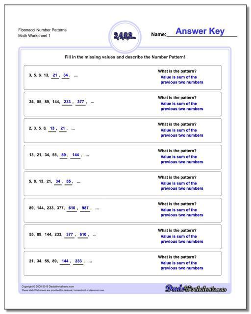 Pattern Worksheets 4th Grade Number Patterns