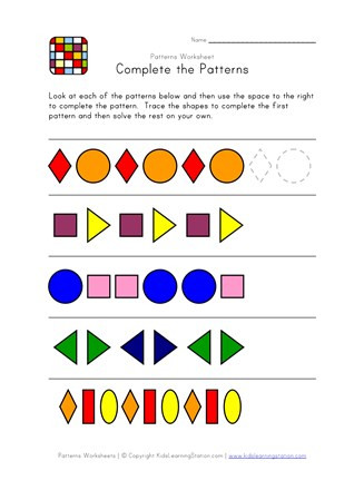 Pattern Worksheets 4th Grade Plete the Patterns Worksheet 1