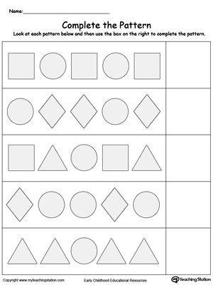 Pattern Worksheets 4th Grade Plete the Shape Pattern