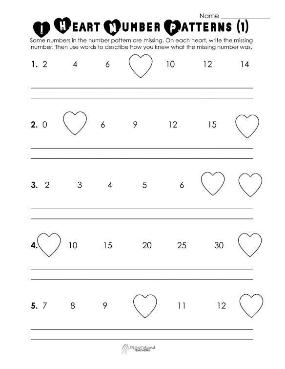 Pattern Worksheets 4th Grade Valentine S Day Number Patterns Free Worksheet