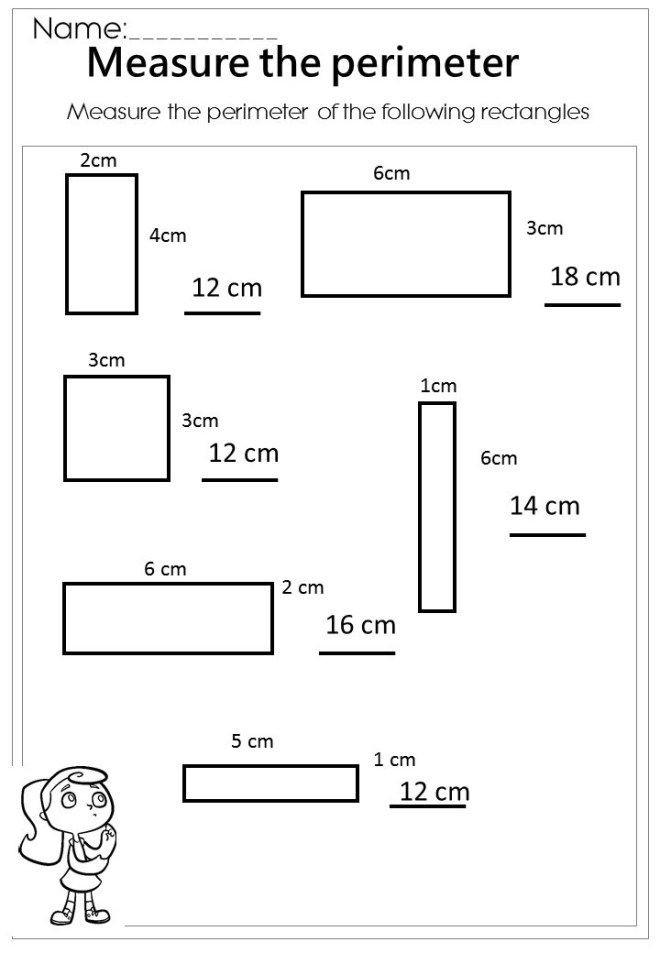 Perimeter Worksheet 3rd Grade Measure the Rectangle Perimeter Worksheet
