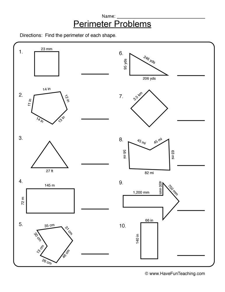 Perimeter Worksheet 3rd Grade Third Grade Measurement Resources