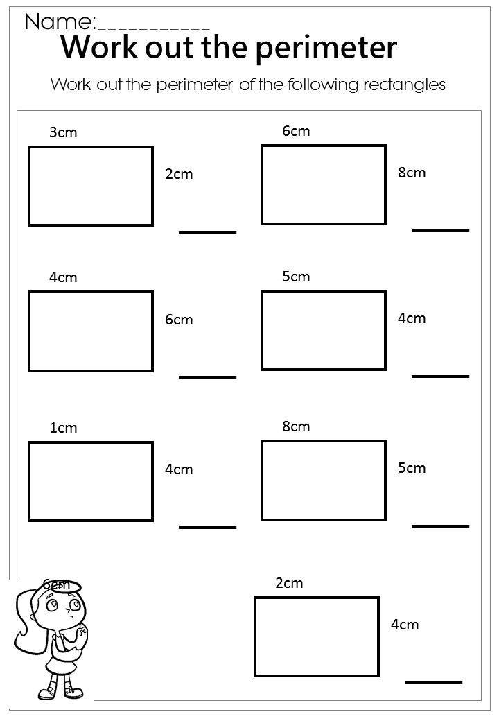 Perimeter Worksheet 3rd Grade Work Out the Rectangle Perimeter Worksheet