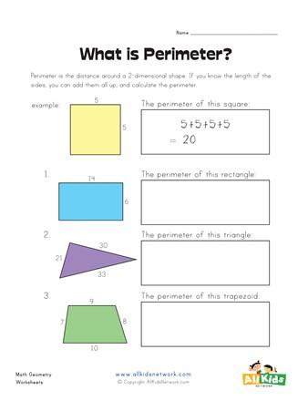 Perimeter Worksheet for 3rd Grade Perimeter Worksheet 1