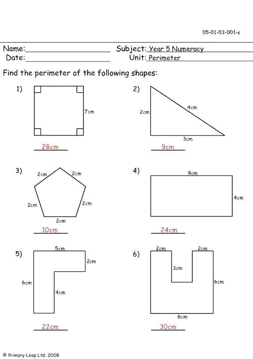 Perimeter Worksheet for 3rd Grade Perimeter Worksheets for 3rd Grade Perimeter Free Math