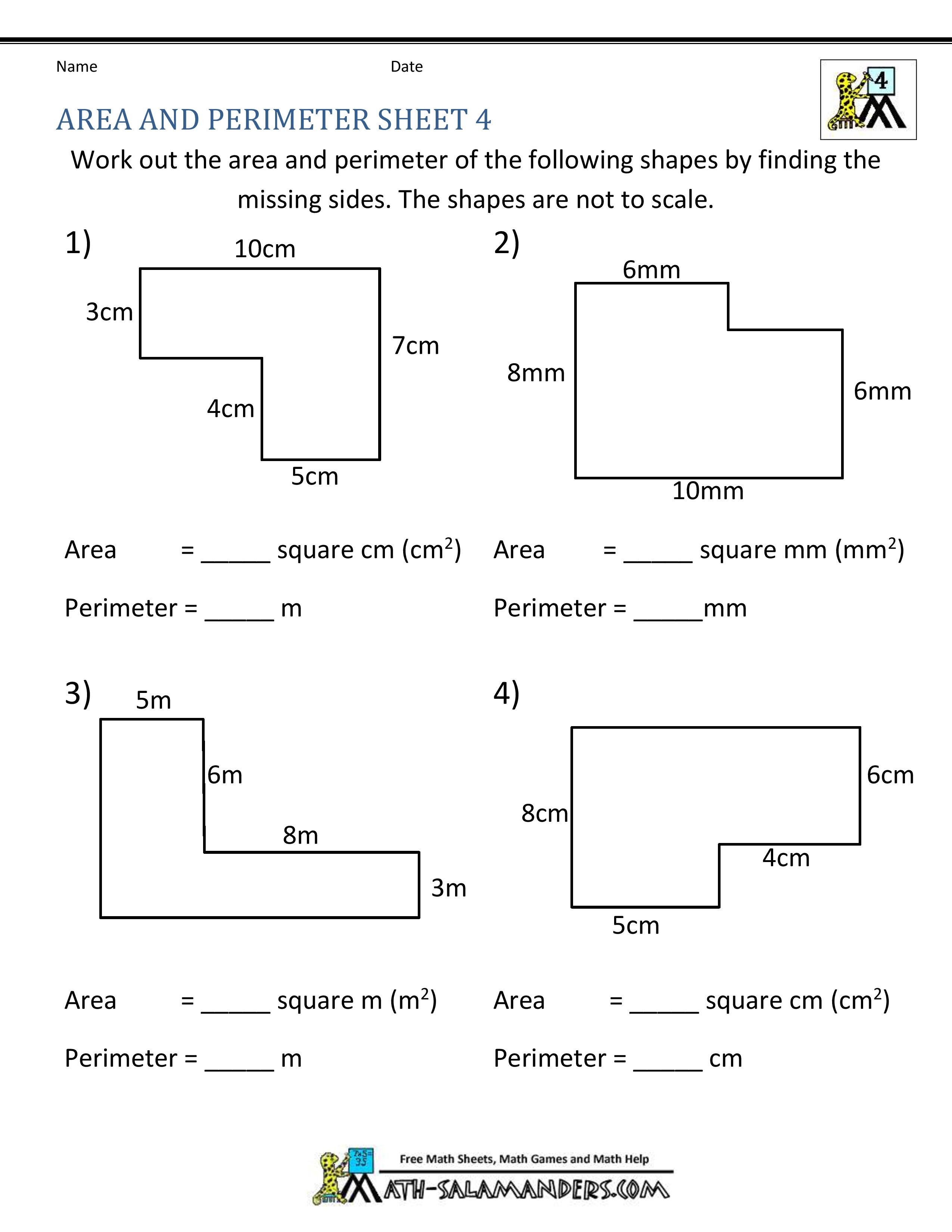 Perimeter Worksheet for 3rd Grade Simple area and Perimeter Worksheets