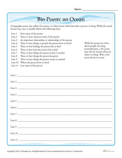 Personification Worksheets 6th Grade Bio Poem Activity An Ocean