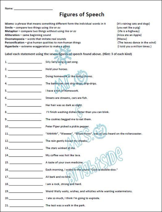 Personification Worksheets 6th Grade Figurative Language Practice Worksheet