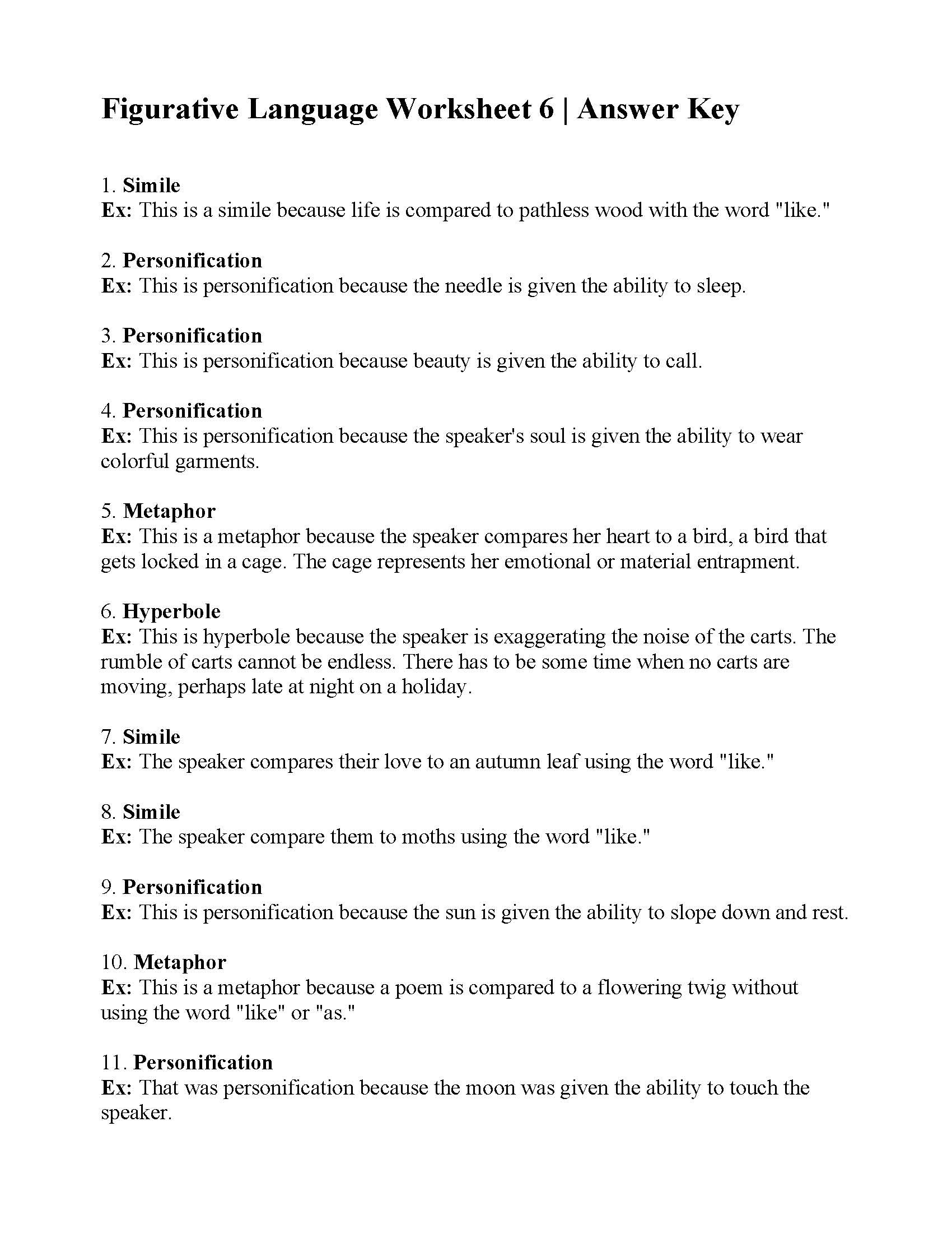 Personification Worksheets 6th Grade Figurative Language Worksheet 6