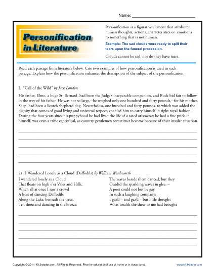 Personification Worksheets 6th Grade Personification In Literature