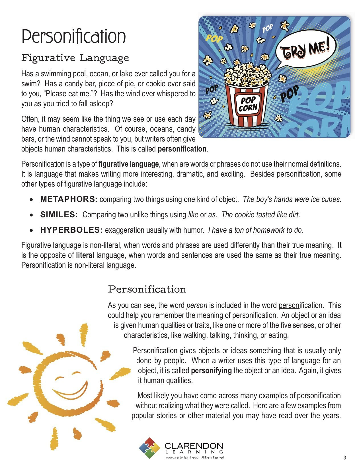 Personification Worksheets 6th Grade Personification