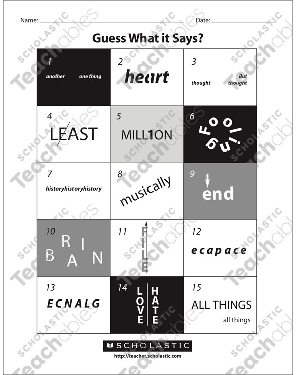 Pictogram Puzzles Printable Guess What It Says Rebuses