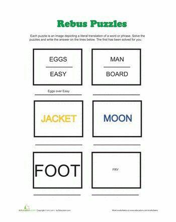 Pictogram Puzzles Printable Rebus Puzzles
