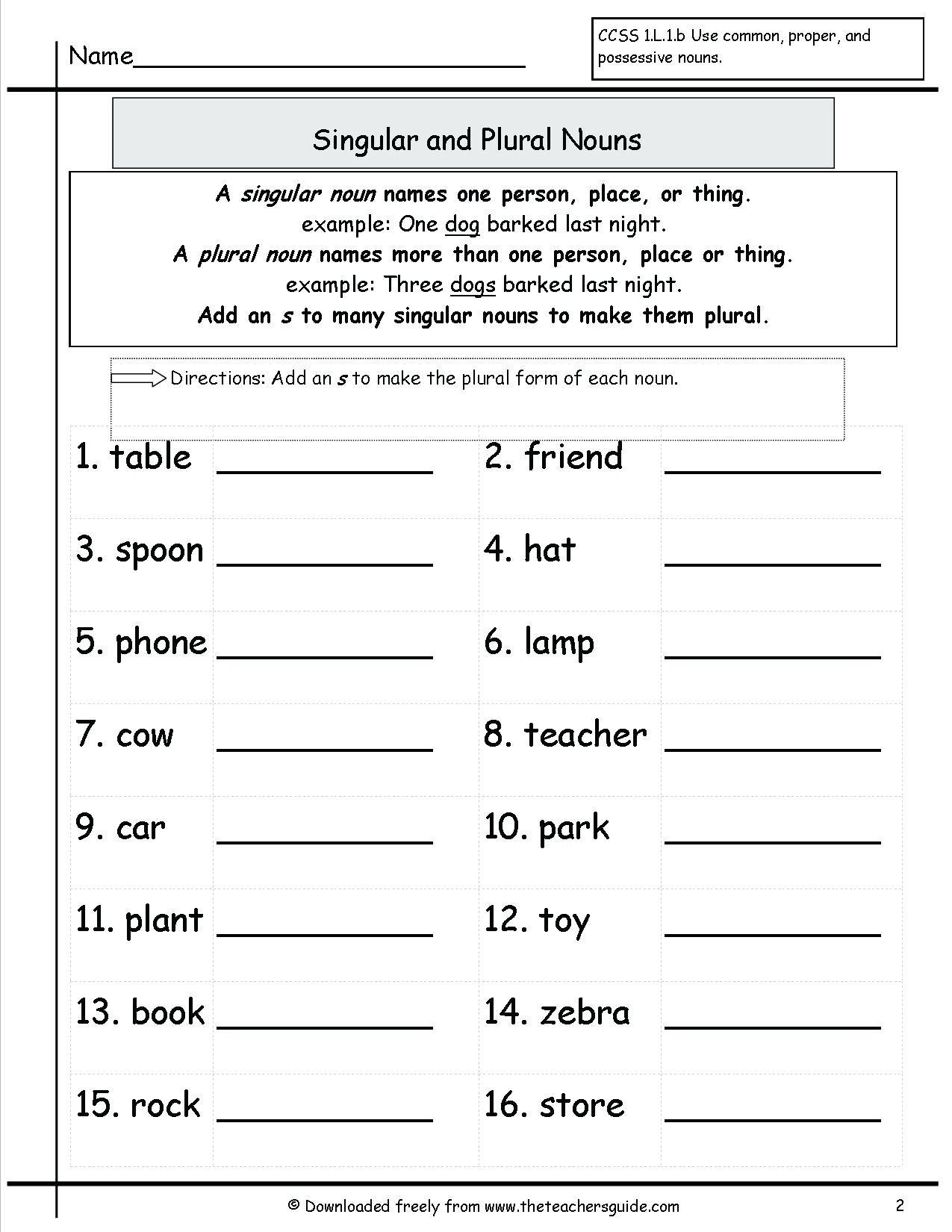Plural Nouns Worksheet 5th Grade Noun Worksheet Singular and Plural Nouns Worksheet Grammar