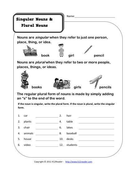 Plural Nouns Worksheet 5th Grade Singular and Plural Nouns
