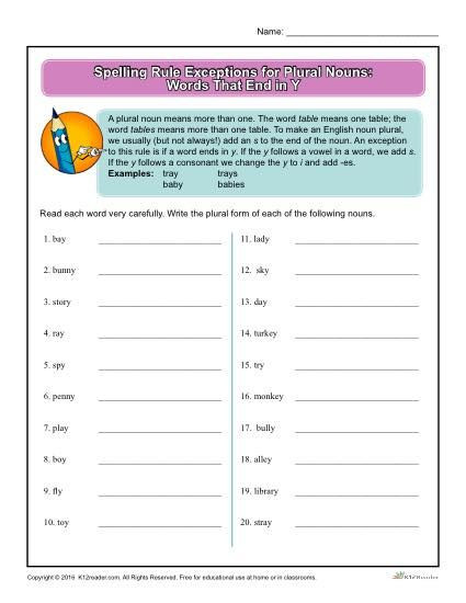 Plural Nouns Worksheet 5th Grade Spelling Rule Exceptions for Plural Nouns Words that End In