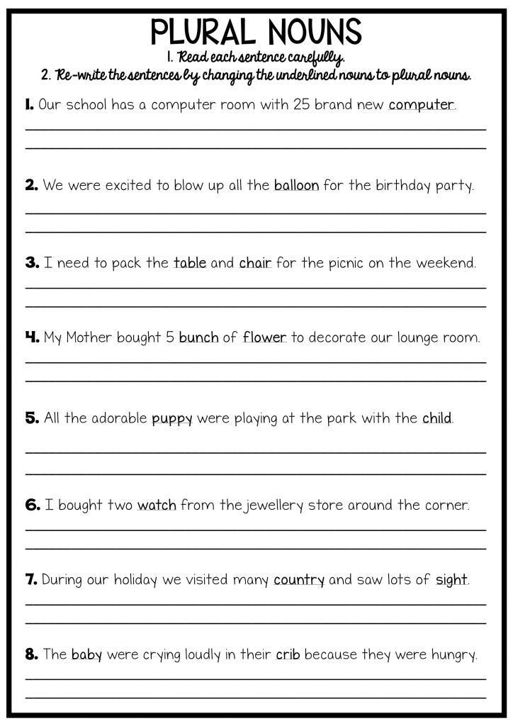 Plurals Worksheet 3rd Grade 3rd Grade Writing Worksheets with Images