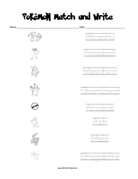 Pokemon Math Worksheets Printable Free Printable Pokemon Matching Worksheet