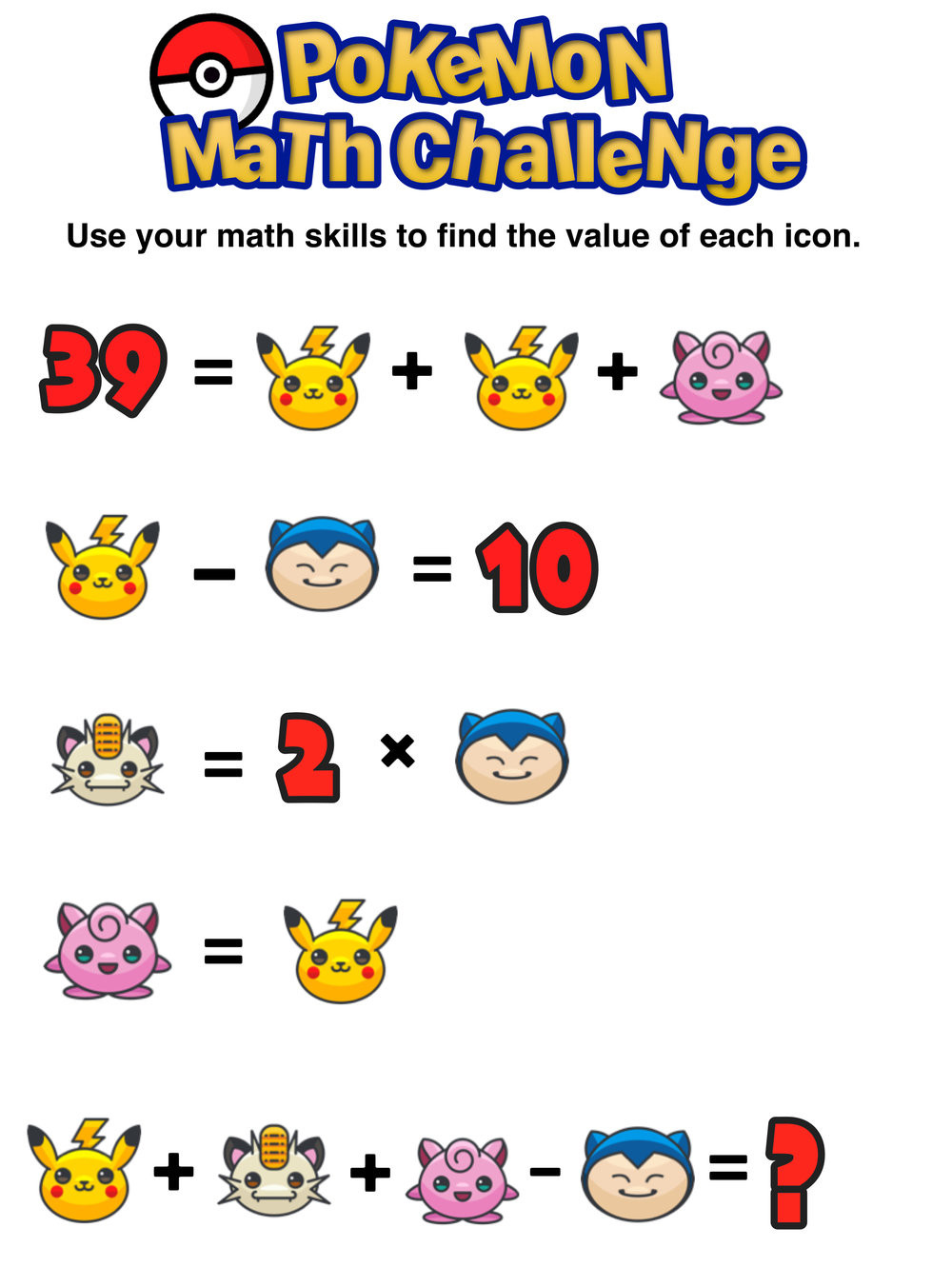 Pokemon Math Worksheets Printable Have You Seen these Free Pokémon Math Puzzles — Mashup Math