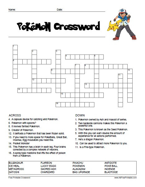 Pokemon Math Worksheets Printable Pokemon Crossword Free Printable Allfreeprintable