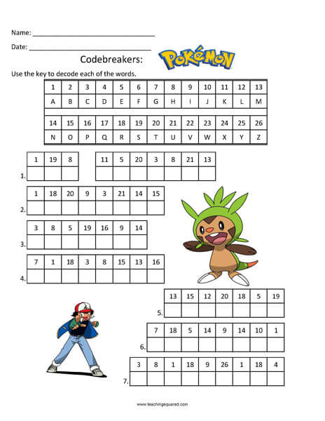 Pokemon Math Worksheets Printable Pokémon Worksheets Teaching Squared