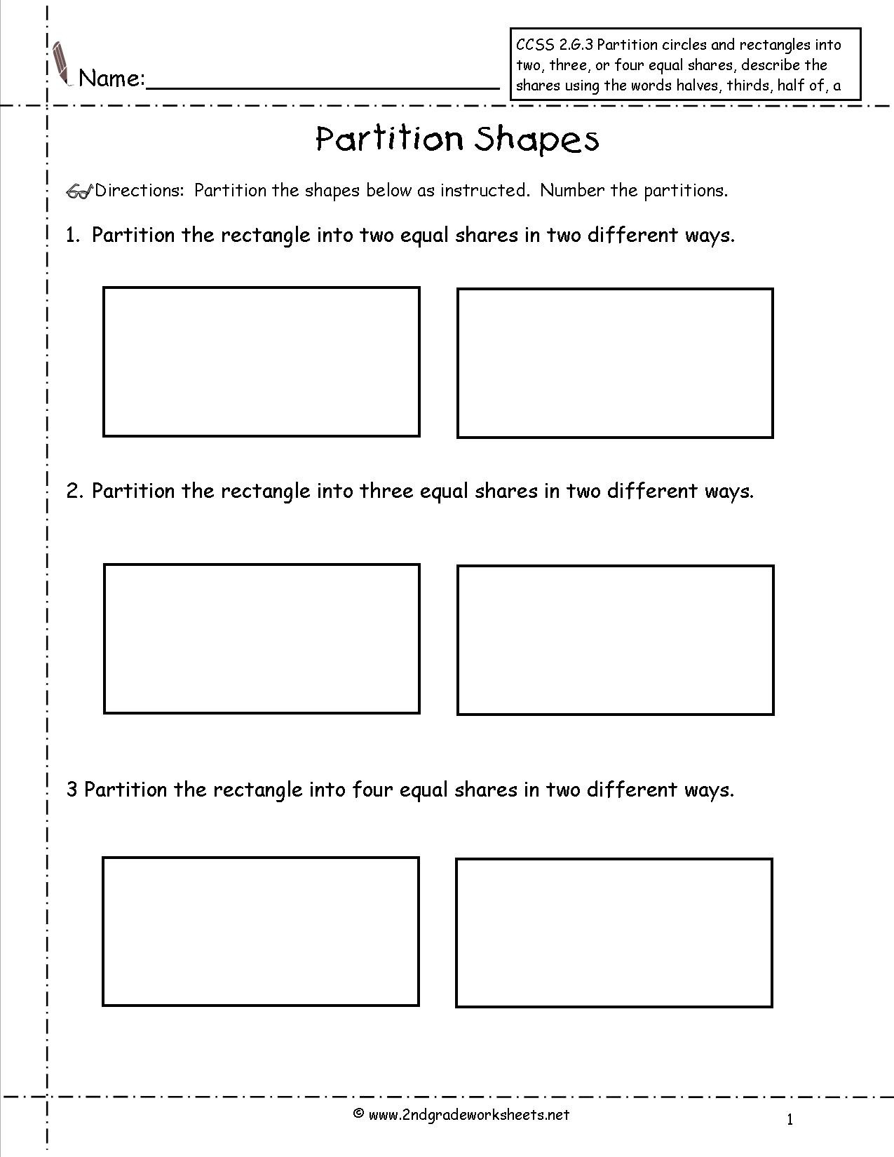 Polygon Worksheets 2nd Grade Ccss 2 G 3 Worksheets Partition Shapes