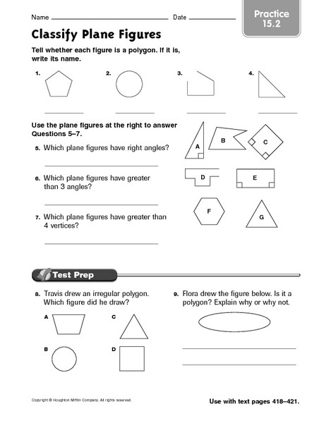 Polygon Worksheets 5th Grade Classify Plane Figures Practice 15 2 Worksheet for 4th
