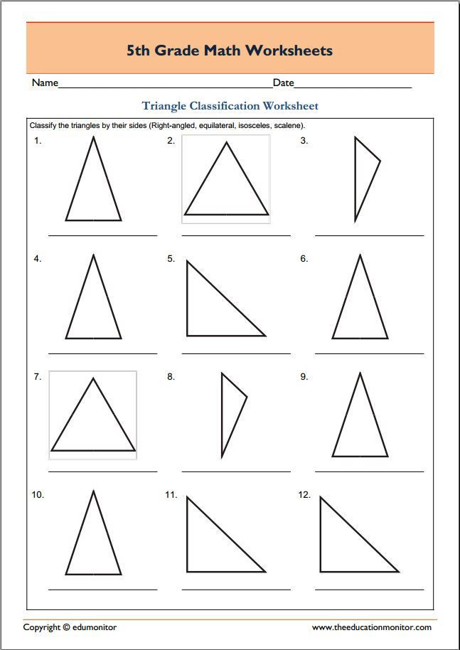 Polygon Worksheets 5th Grade Free 5th Grade Geometry Math Worksheets Triangle