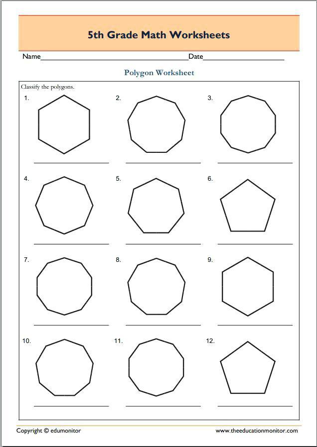 Polygon Worksheets 5th Grade Polygon Worksheets Regular Polygons Shapes Printable Upgrade
