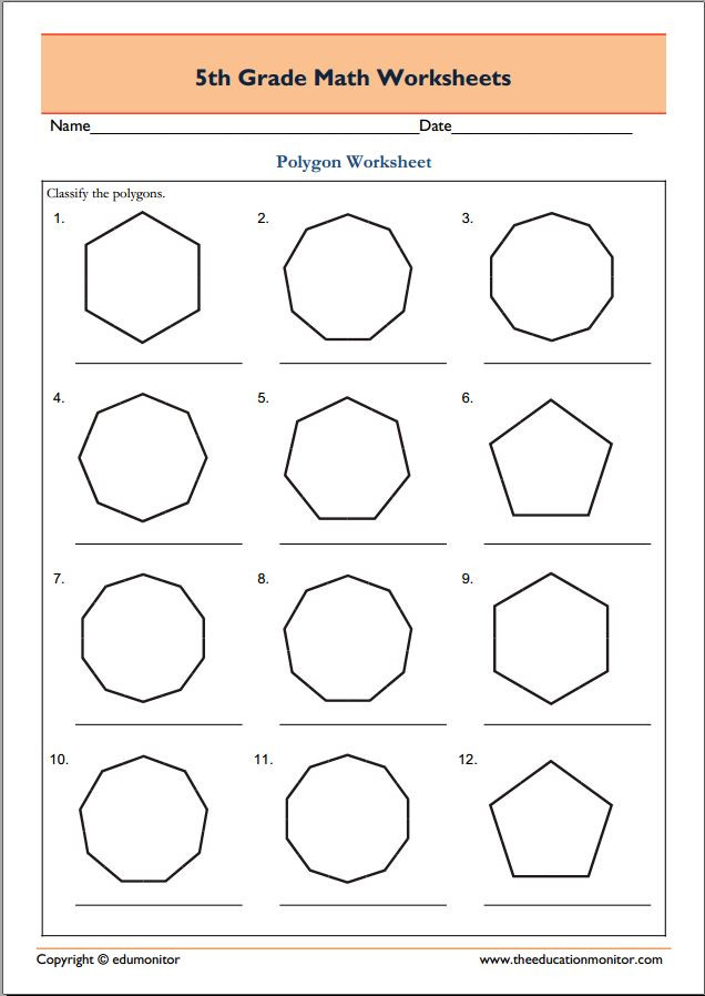 Polygons Worksheets 5th Grade 5th Grade Geometry Math Worksheets Polygons Edumonitor