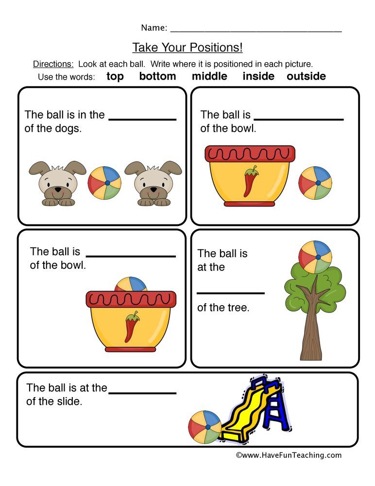 Positional Words Preschool Worksheets Prepositions Positions Worksheet