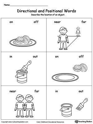 Positional Words Worksheet for Kindergarten Directional and Positional Words