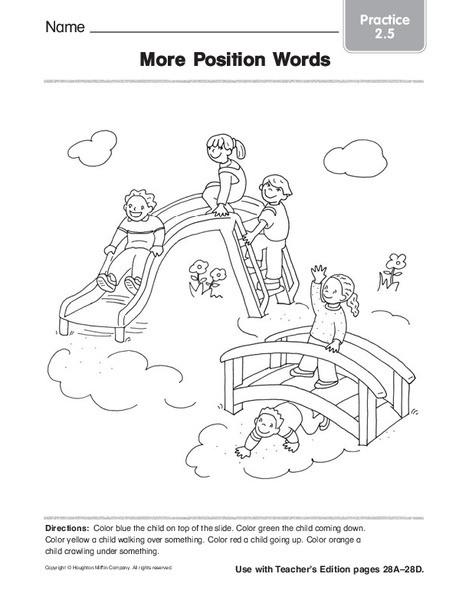 Positional Words Worksheet for Kindergarten More Position Words Worksheet for Kindergarten 1st Grade