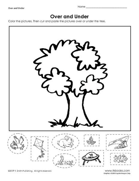 Positional Words Worksheet for Kindergarten Over and Under Learning Position Words Worksheet for Pre K