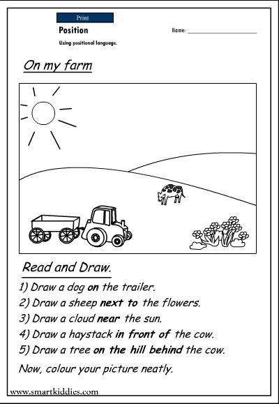 Positional Words Worksheet for Kindergarten Printable Positional Words Worksheets