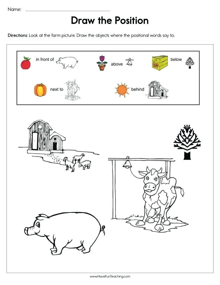 Positional Words Worksheets for Preschool Positional Words Worksheets 2nd Grade – Goodaction