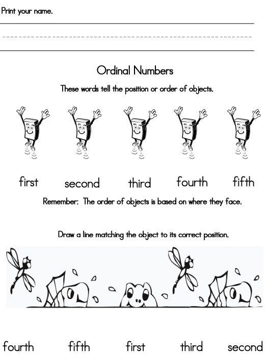 Positional Words Worksheets for Preschool Positional Words Worksheets Kindergarten & ordinal Number