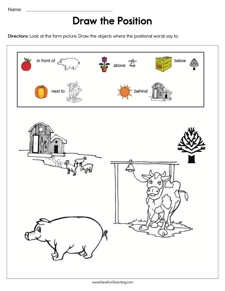 Positional Words Worksheets Kindergarten Draw the Positions Worksheet