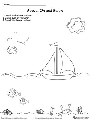Positional Words Worksheets Kindergarten Kindergarten Position and Direction Printable Worksheets
